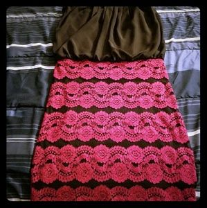 Black  bodycon dress with red lace